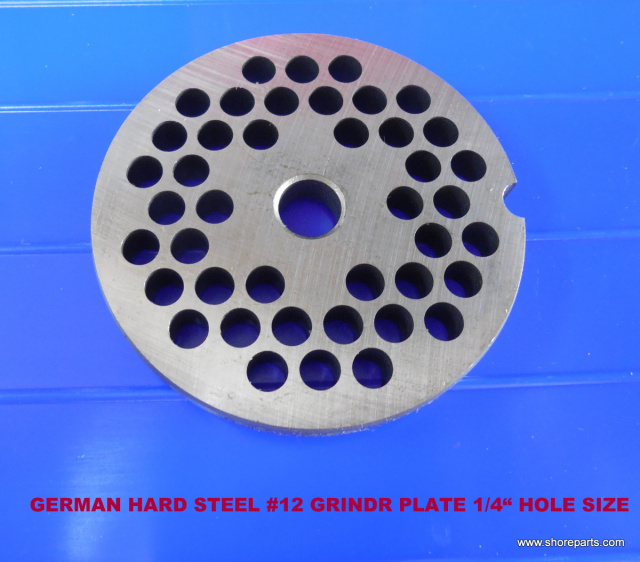 "#12 German Made Grinder Plate 1/4"" Holes for Biro Model 812 Meat Grinder"