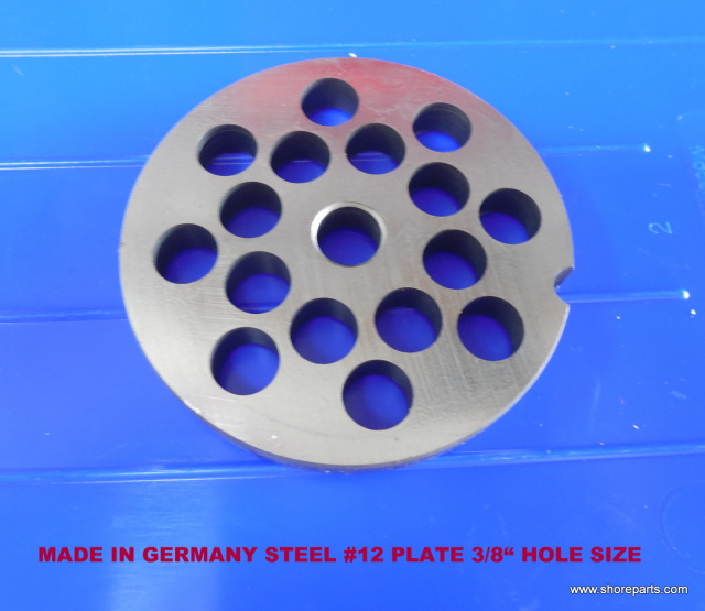 "#12 German Made Grinder Plate 3/8"" Holes for Biro Model 812 Grinder"