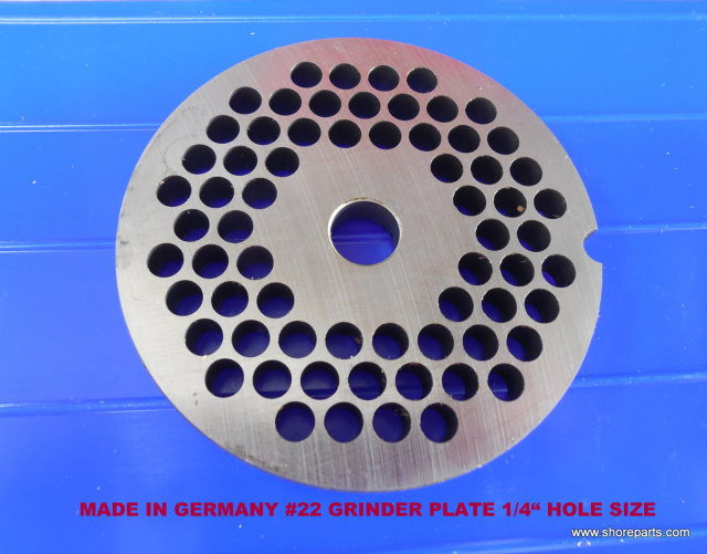 "German Made 1/4"" Hole #22 Grinder Plate for Biro 722, 822 & 922 Grinders"