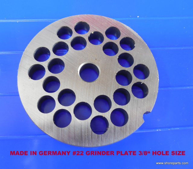 "German Made 3/8"" Hole #22 Grinder Plate for Biro 722, 822 & 922 Grinders"