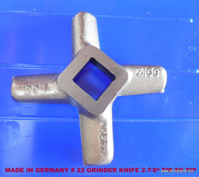 "German Made #22 Grinder Knife for Biro 722, 822 & 922 Grinders. 2-7/8"" Tip to Tip"