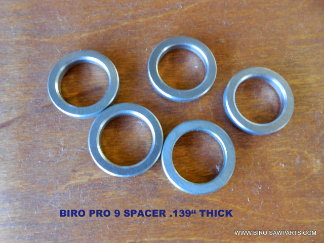 "5 Stainless Steel .139"" Spacers for Biro Pro 9. Replaces T3031"